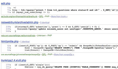 screen capture of google code base
