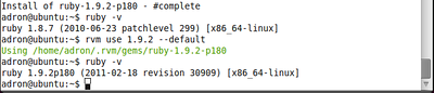 Setting Ruby 1.9.2 as Default