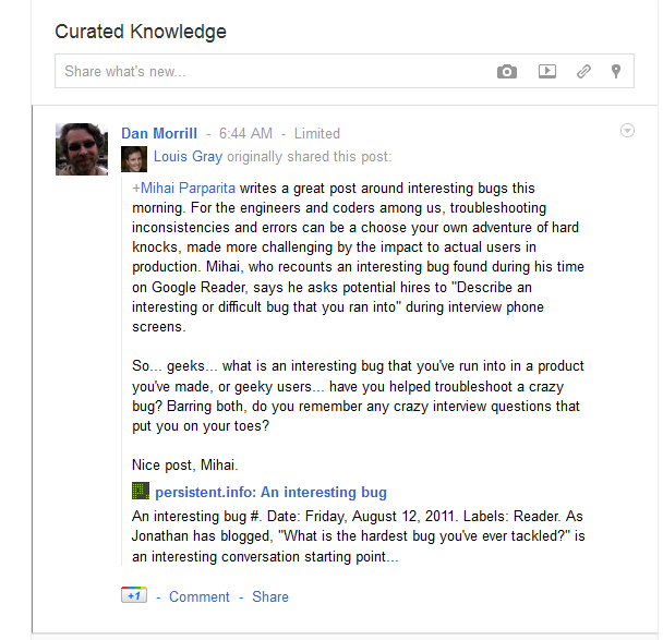 curated knowledge example in G+