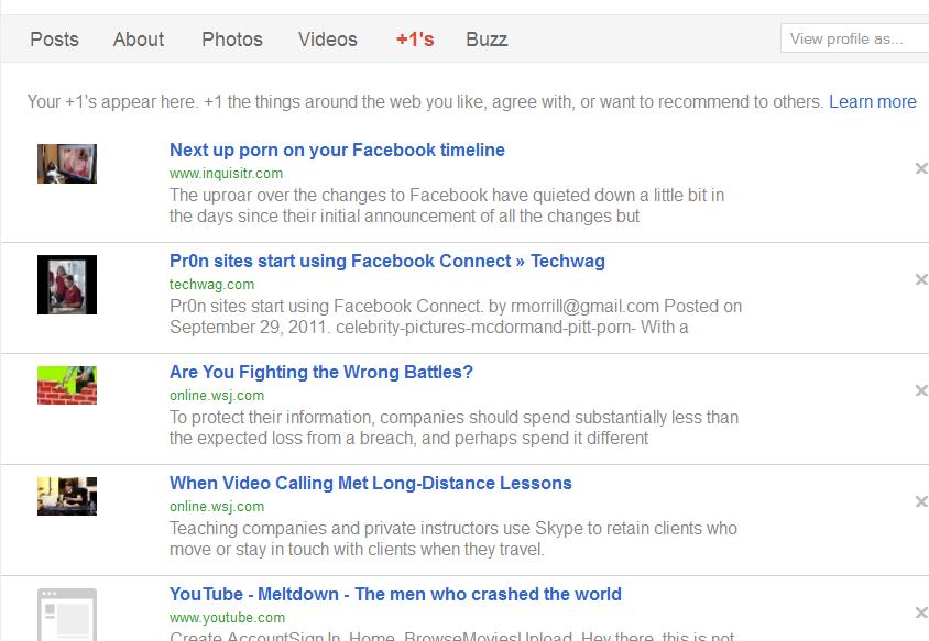 Google Plus 1 Tab