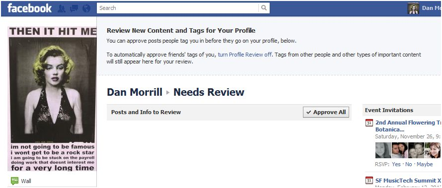 "Facebook's new ""Needs Review"" feature"