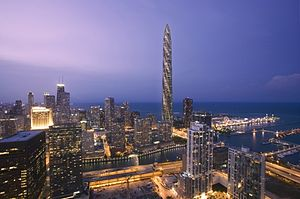 Computer rendering of the Chicago Spire. This ...