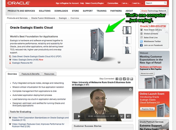 Oracle Exalogic... a single server cloudy thing.