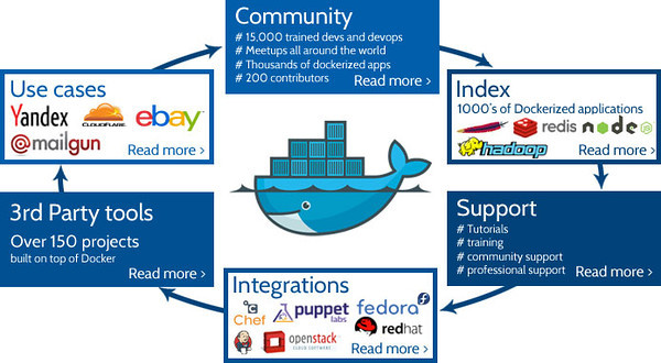Docker Ecosystem from the Docker Blog. Hope they don't mind I linked it, it shows the solid lifecycle of the ecosystem. (Click to go view the blog entry that was posted with the image)