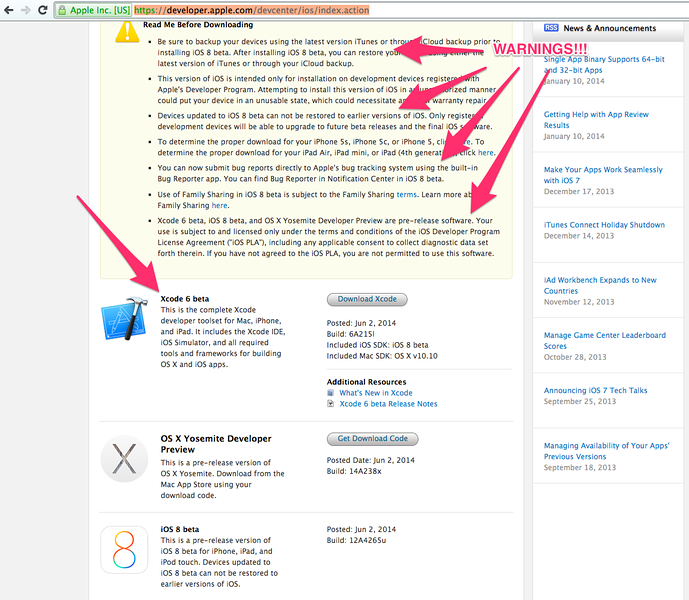 The Warnings and the Download XCode 6 beta page.