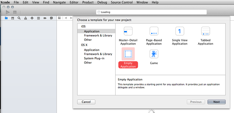 Selecting an empty Xcode 6 beta project to use with Swift.