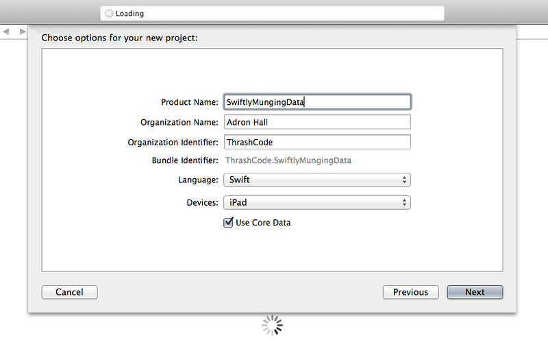 Selecting Swift, entering a project name and other information dialog.