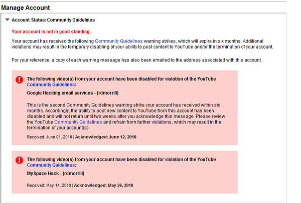 YouTube and Community Guidelines could mean being locked out of your account