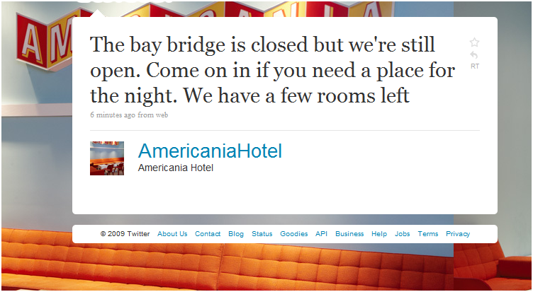 Hotel Capitalizes on Bay Bridge Closure - on Twitter, Where Else?