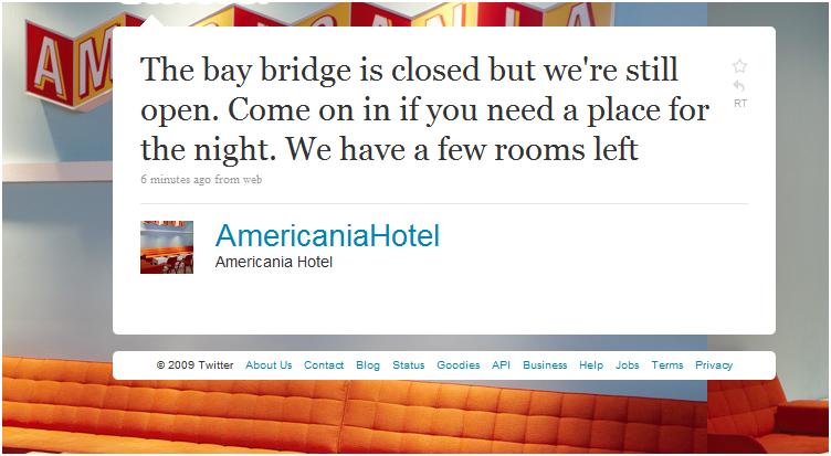 Hotel Capitalizes on Bay Bridge Closure - on Twitter, Where Else?