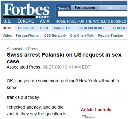 Forbes Gaffe: Prints Private Chat Between AP Reporters.  How to Correct Online Publications.