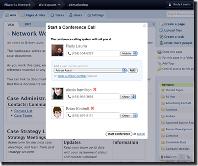 PBworks Finds Convergence. Ad Hoc Conference Calling